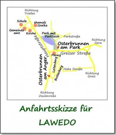 Standort der Osterbrunnen innerhalb Langenwetzendorfs